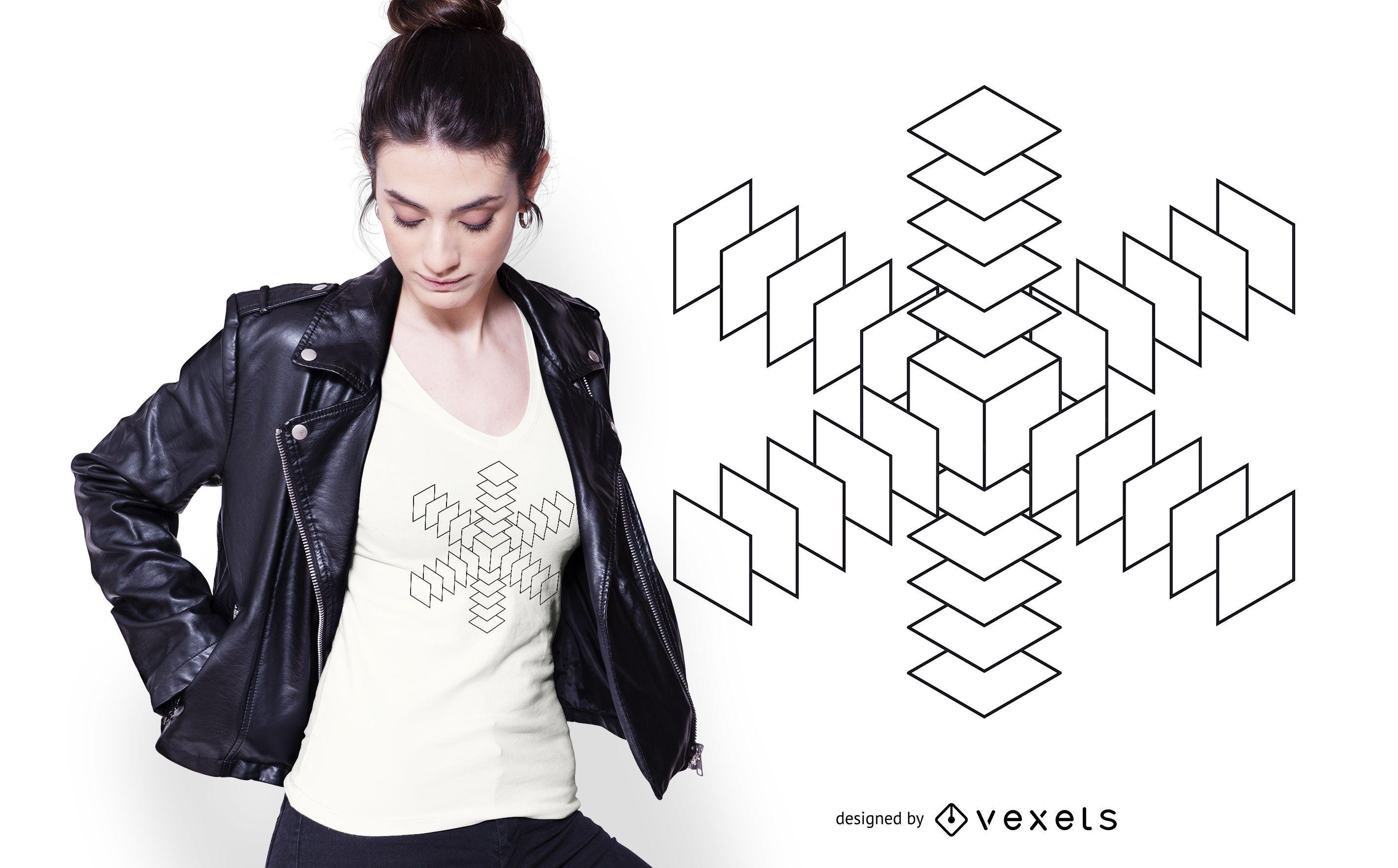 Abstract 3D Snowflake T-shirt Design