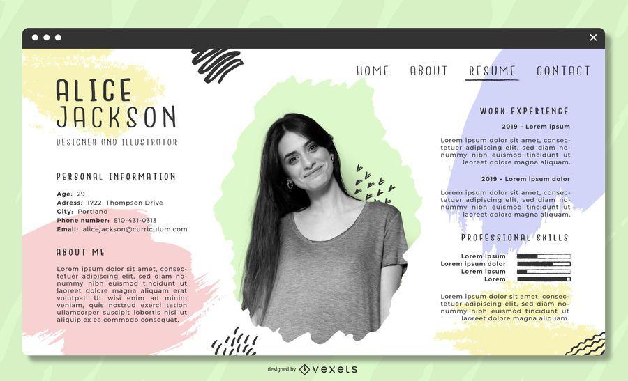 Plantilla de CV artístico en colores pastel