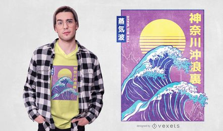 Design de camiseta grande Vaporwave Wave