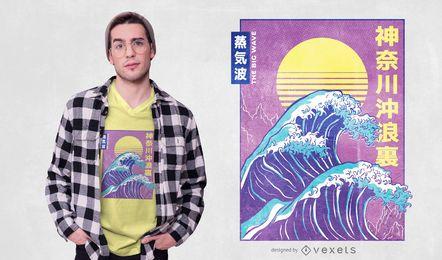 Diseño de camiseta Big Wave Vaporwave