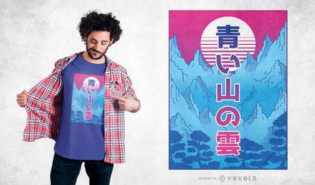 Design de camiseta de montanha Vaporwave