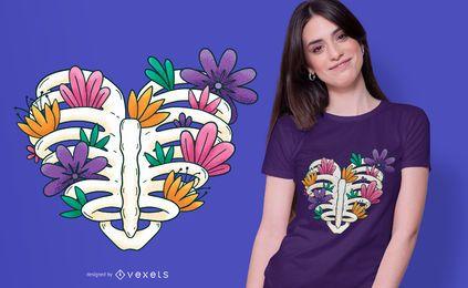 Diseño de camiseta corazón caja torácica