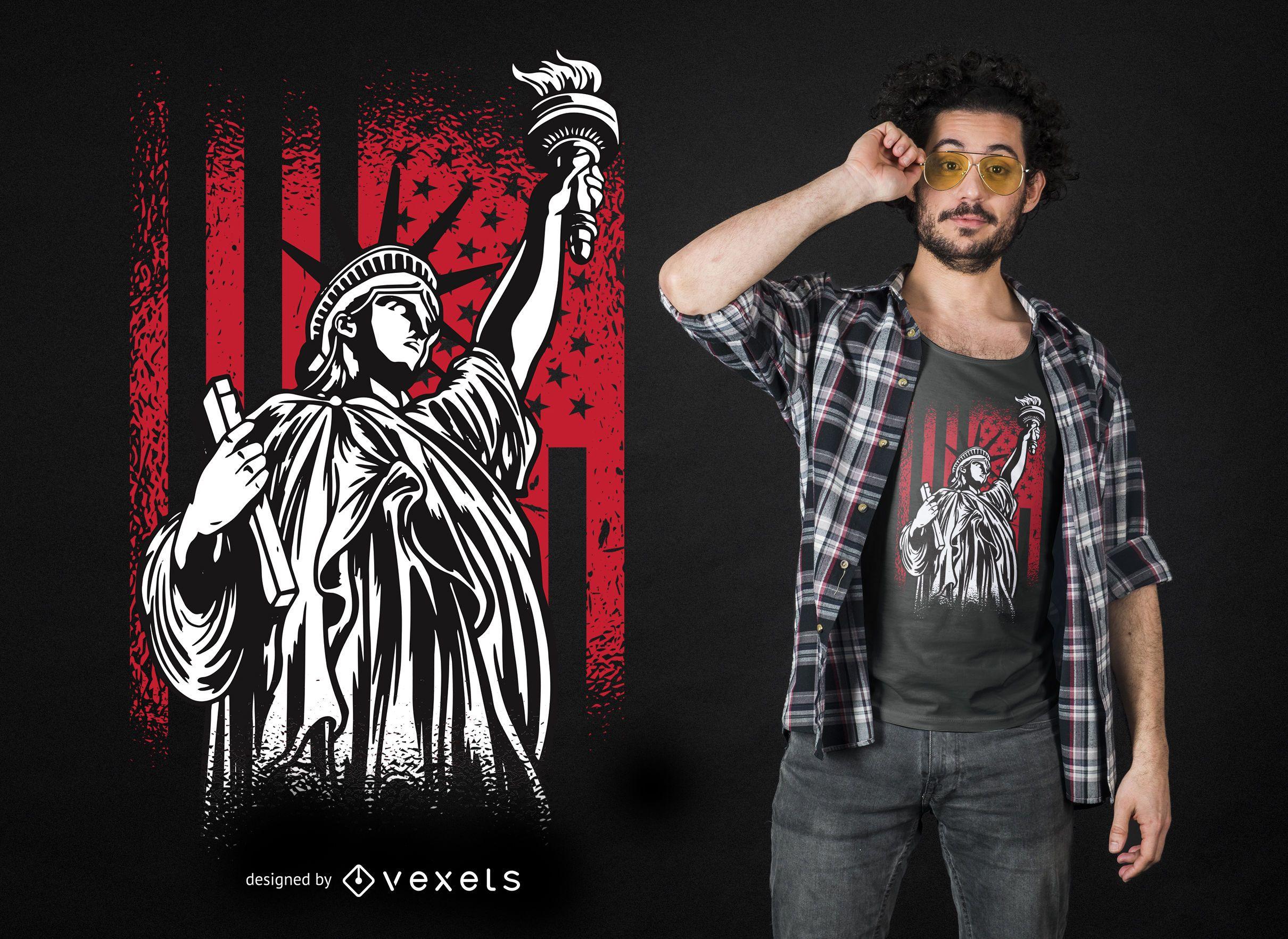 Design de camisetas da est?tua da liberdade nos EUA
