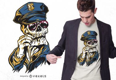 Diseño de camiseta de calavera policial