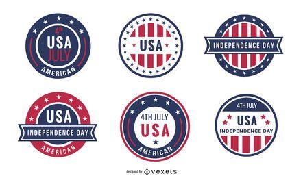 Conjunto de crachá do dia da independência dos EUA