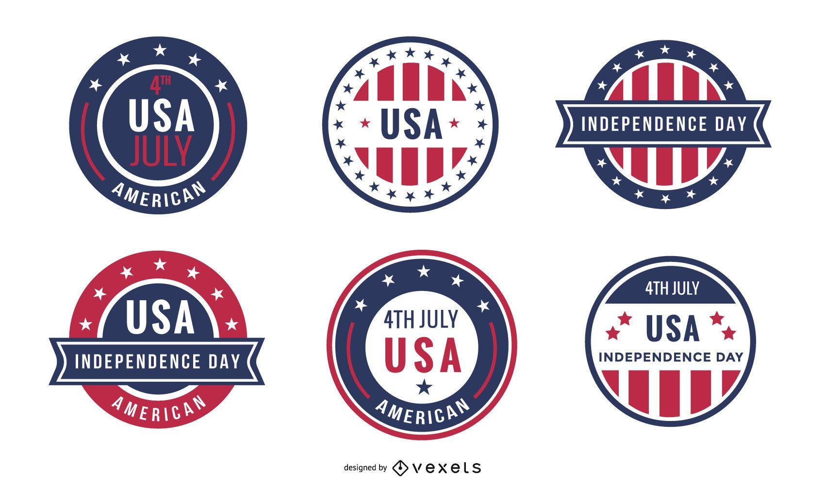 Usa independence day badge set
