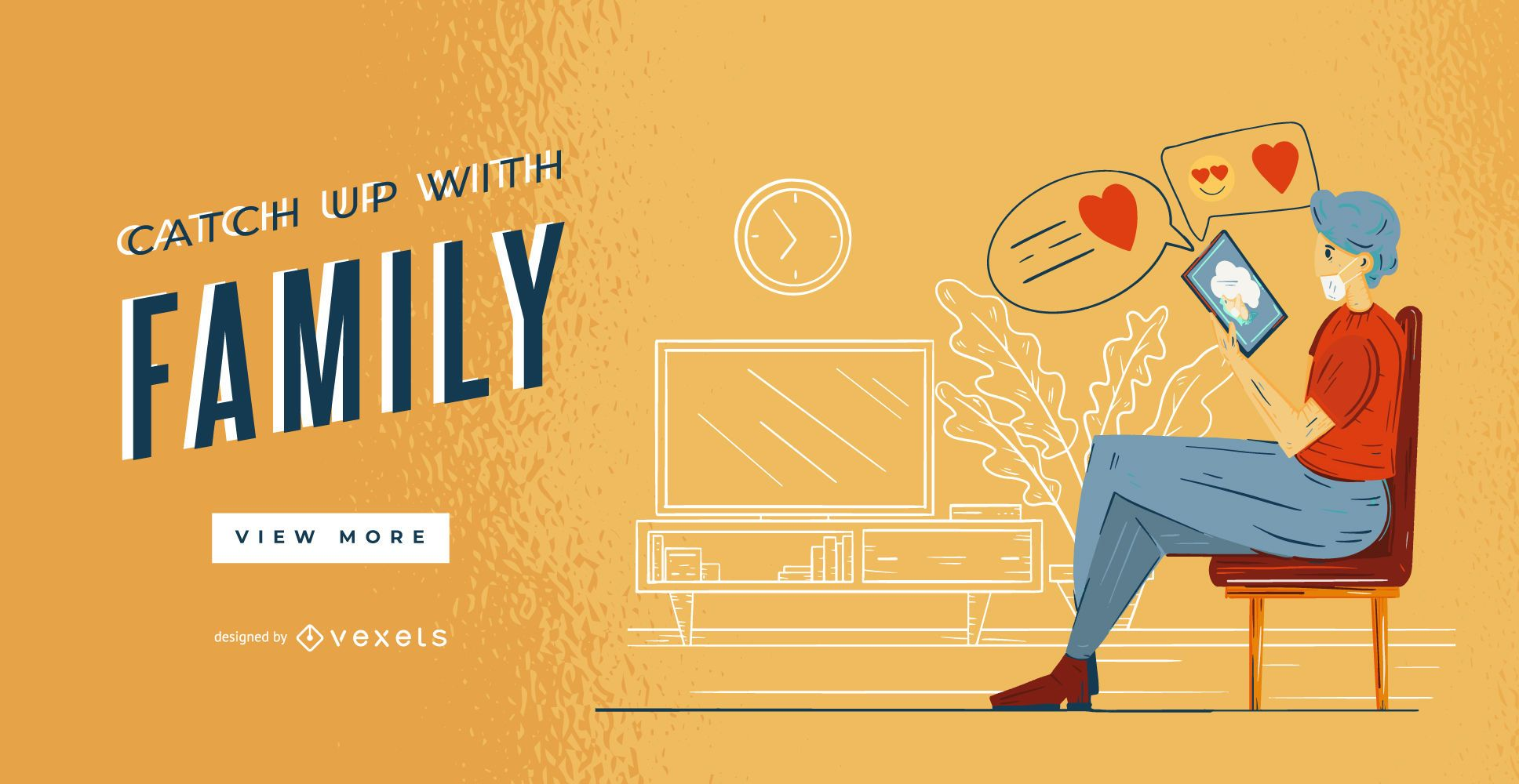 Stay at Home Character Web Banner