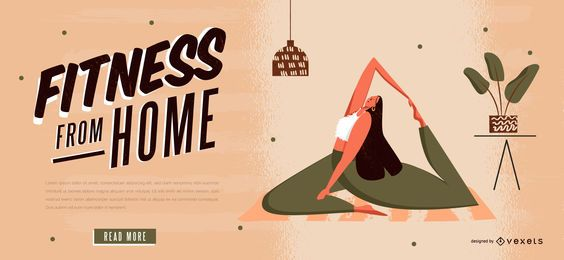 Fitness von zu Hause Web Slider Vorlage