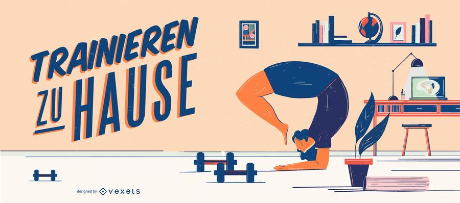 Home Workout Character German Lettering Banner
