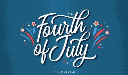 Vierter Juli Feuerwerk Schriftzug