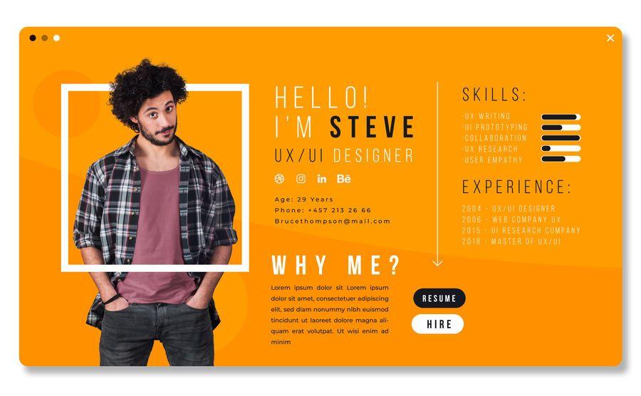 Diseño de plantilla de CV de UX Designer