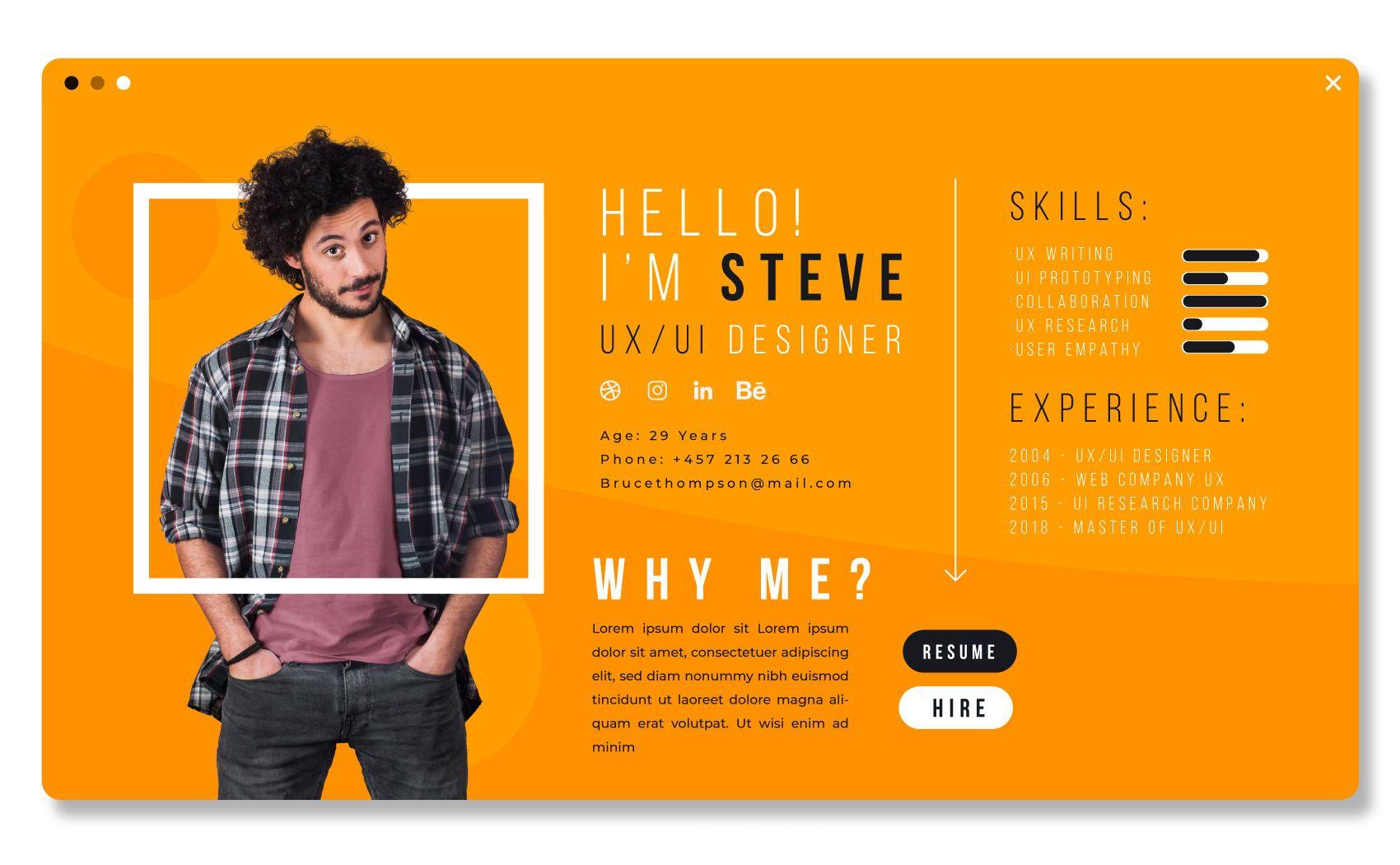 Diseño de plantilla de CV de diseñador de UX