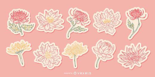 Illustrierte Aufkleberpackung der chinesischen Blume