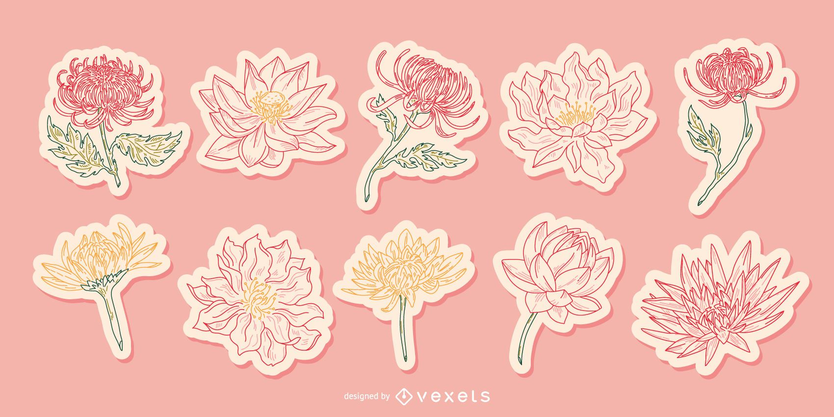 Pacote de adesivos ilustrados de flores chinesas