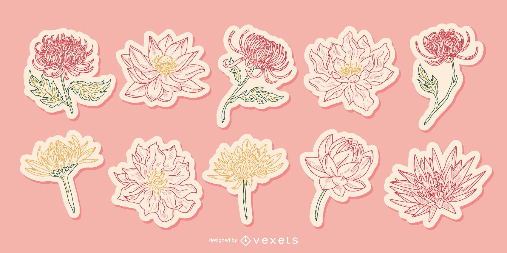 Paquete de pegatinas ilustradas de flores chinas