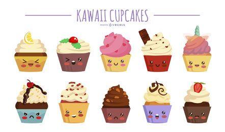 Conjunto de ilustração de cupcakes kawaii