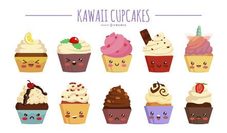 Kawaii cupcakes illustration set