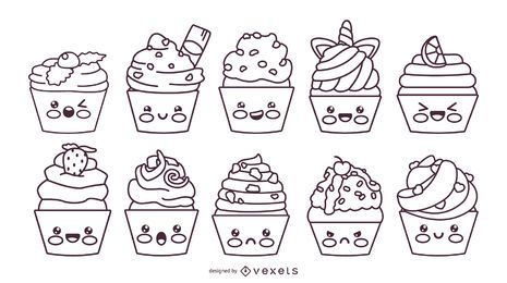 Kawaii cupcakes stroke set