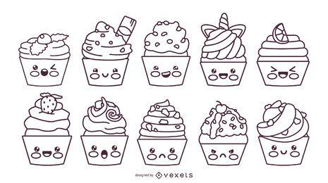 Kawaii cupcakes stroke set