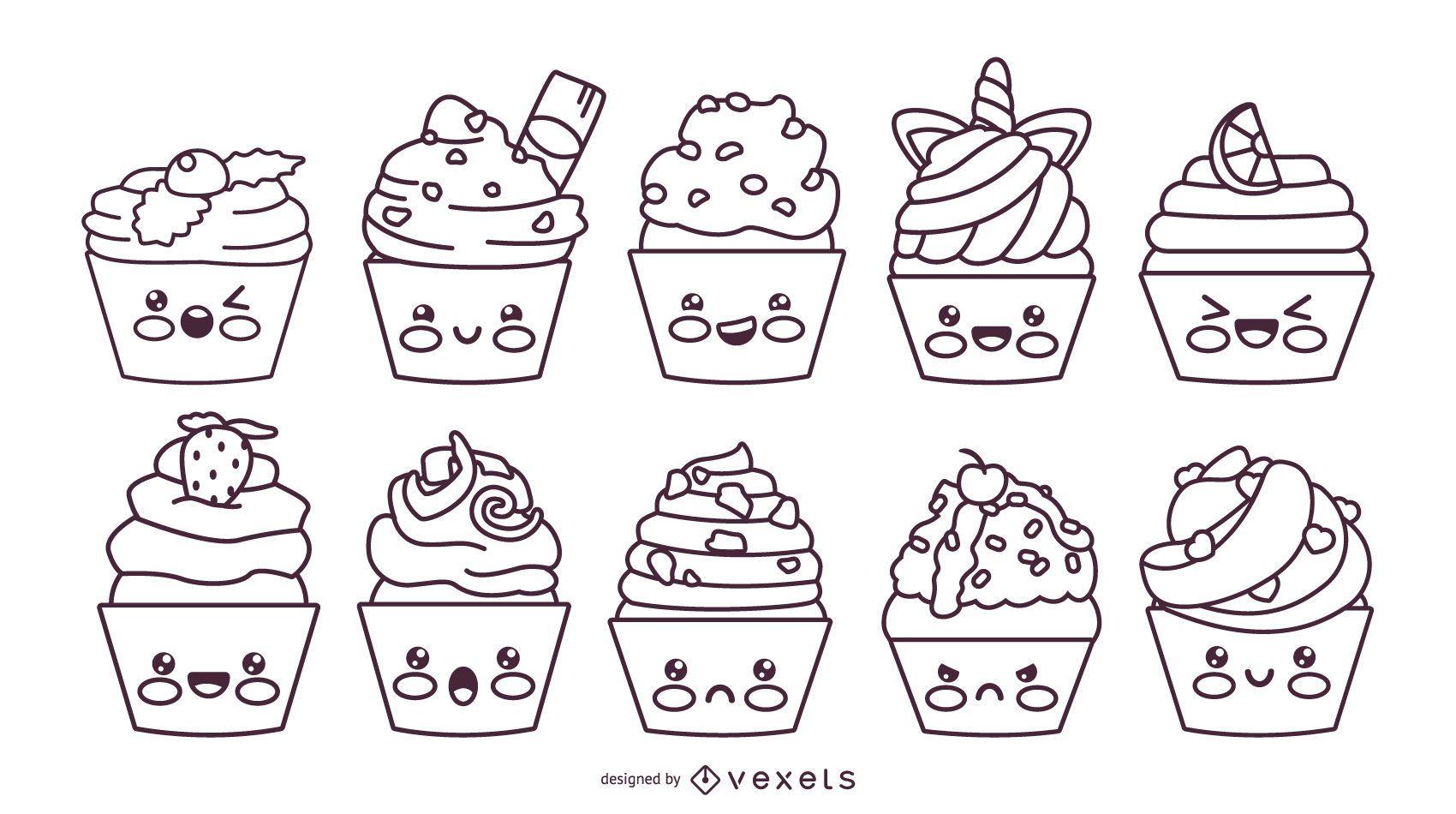 Conjunto de trazos de cupcakes kawaii