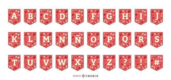 Colección de alfabeto de banner de guirnalda de fresa