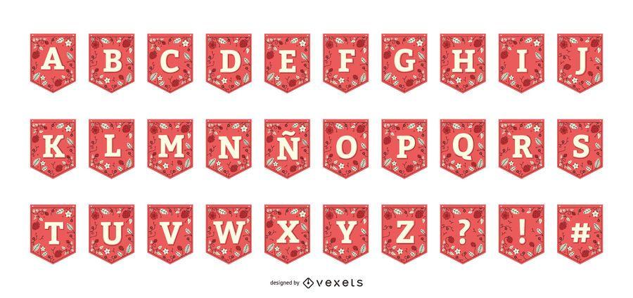 Coleção de alfabeto de morango guirlanda Banner