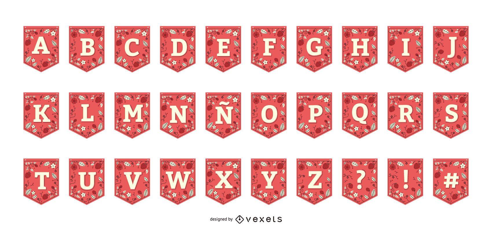 Strawberry Garland Banner Alphabet Collection