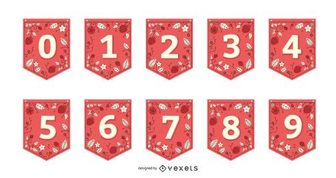 Strawberry Garland Banner Number Set