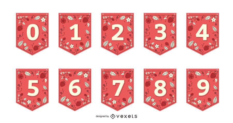 Strawberry Garland Banner Number Set