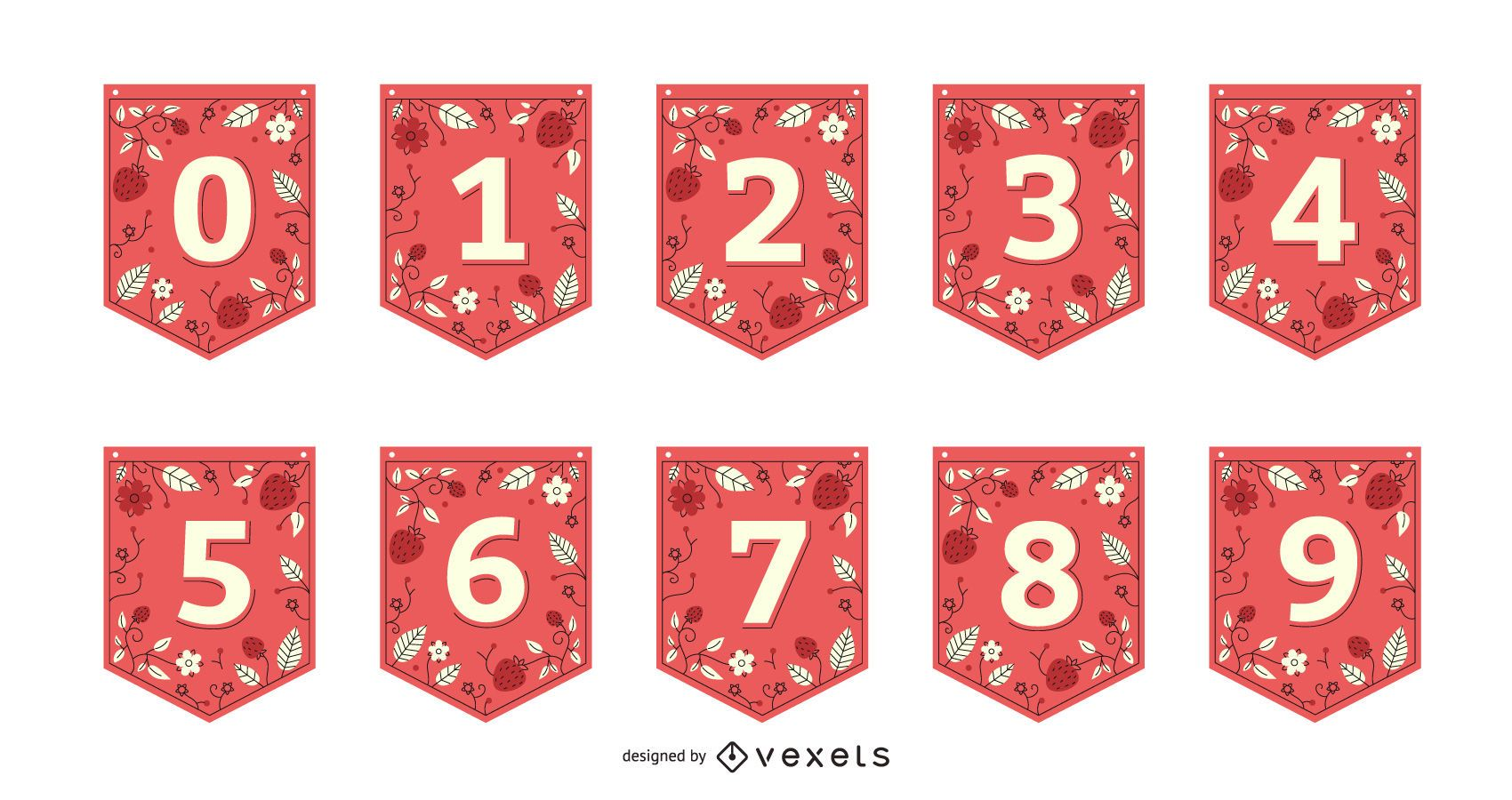 Conjunto de números de banner de guirnalda de fresa