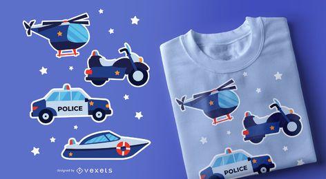 Diseño de camiseta de vehículos policiales