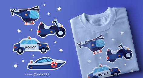 Police vehicles t-shirt design