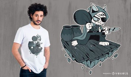 Thief cat t-shirt design