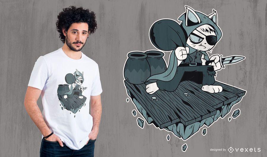 Diseño de camiseta de gato ladrón