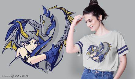 Dragon hug t-shirt design