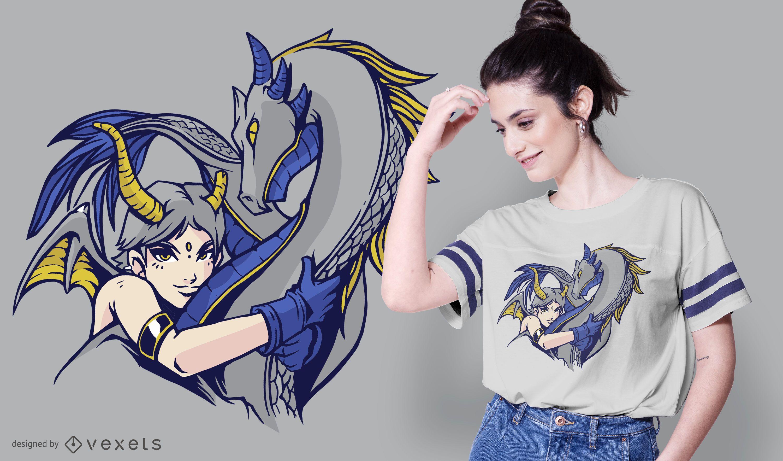 Diseño de camiseta Dragon Hug