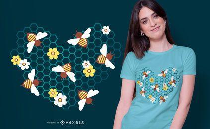 Design de t-shirt de coração de abelha