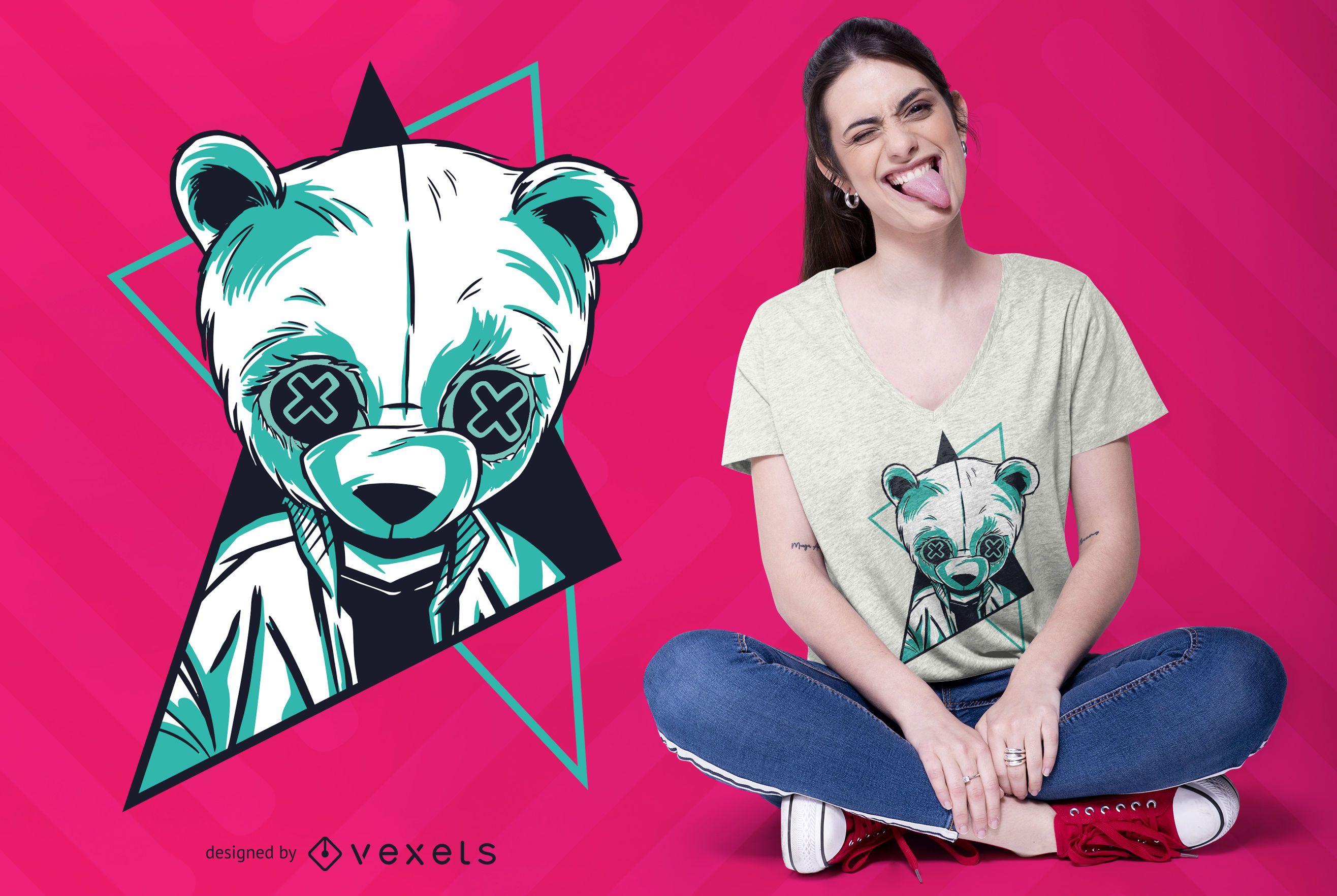 Neon panda t-shirt design