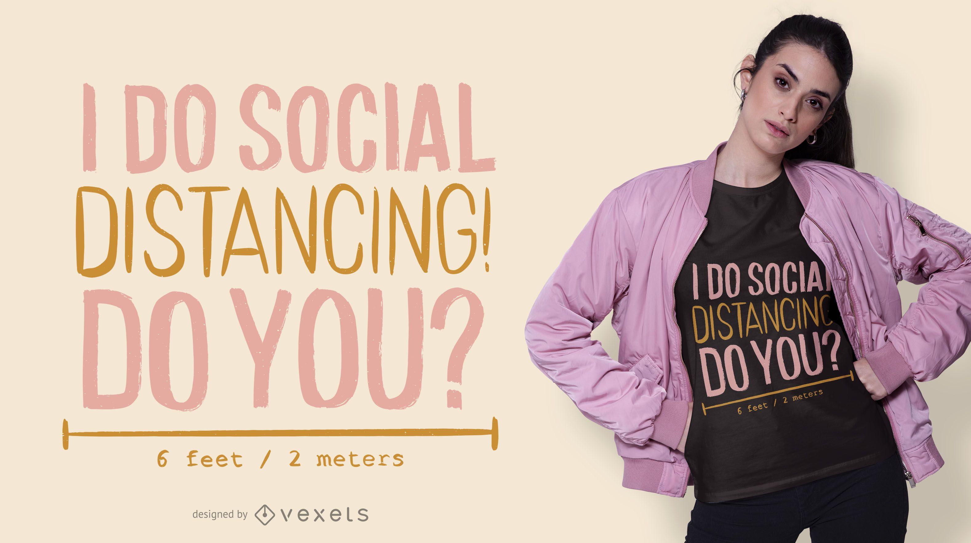 Diseño de camiseta de distanciamiento social.