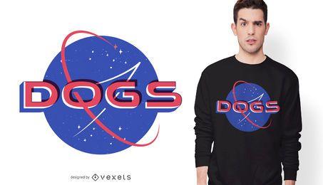 Diseño de camiseta de perros espaciales.