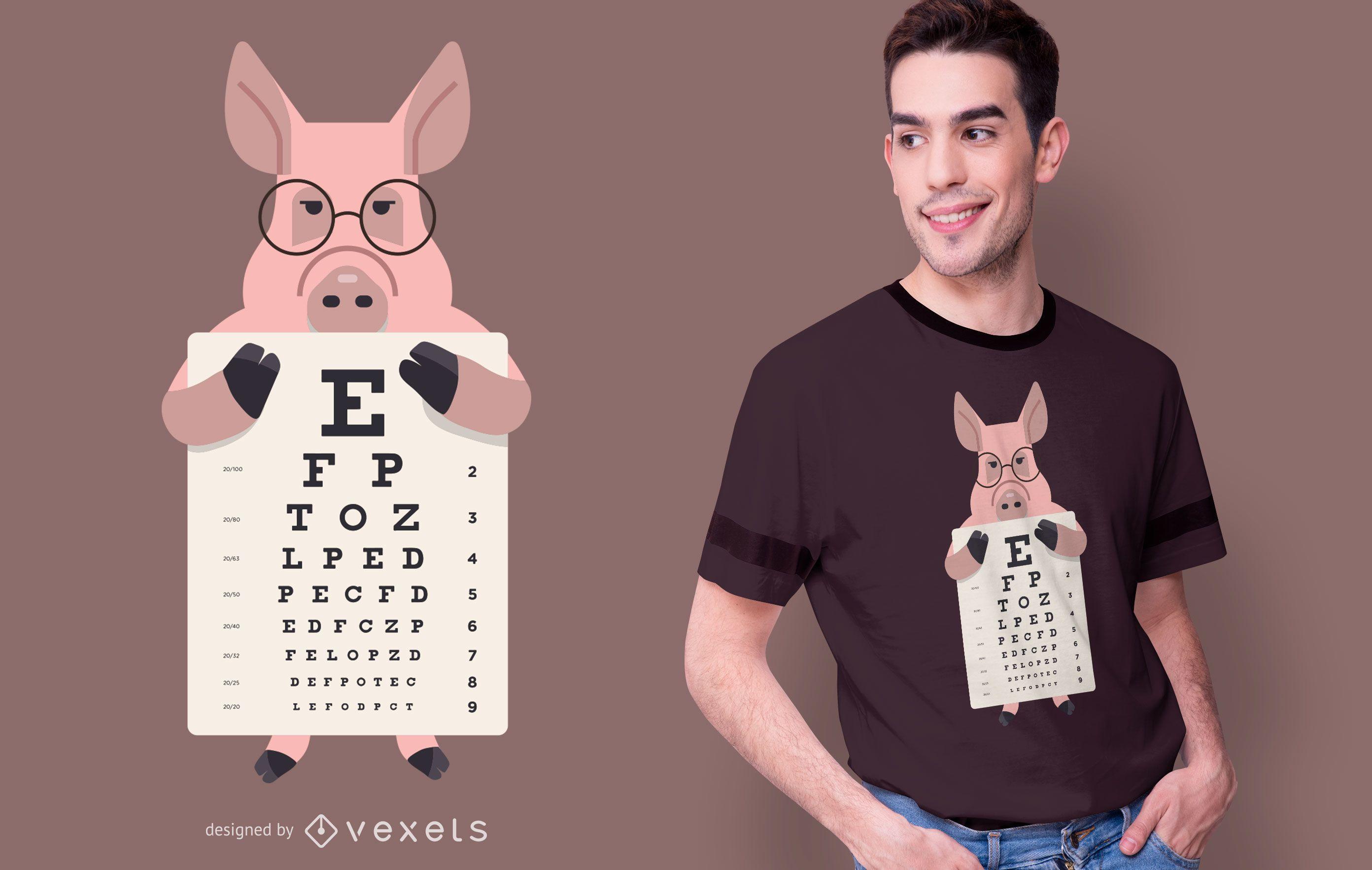 Pig eye chart t-shirt design