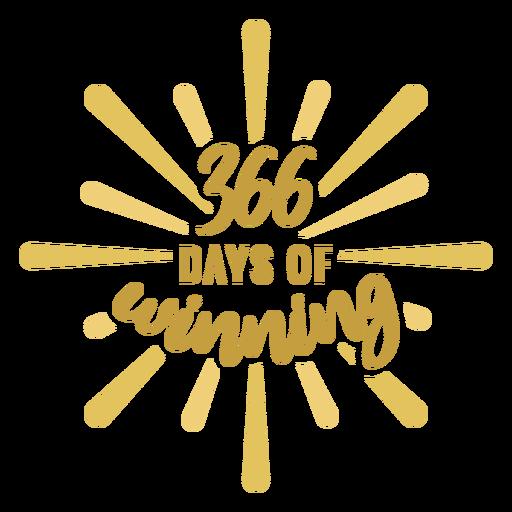 366 días de etiqueta engomada de la insignia ganadora