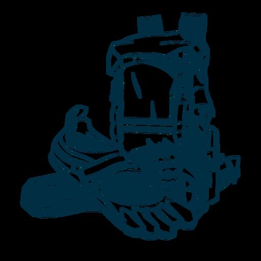 Ilustración de zapatilla de deporte de mochila