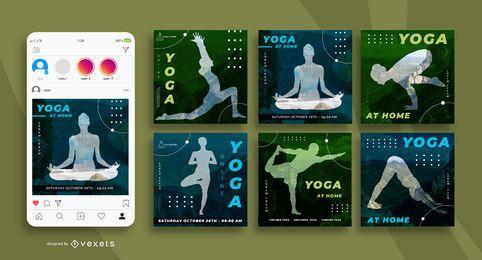 Pacote de banner quadrado de mídia social de ioga