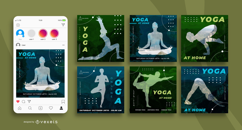Pacote de banner para ioga nas mídias sociais