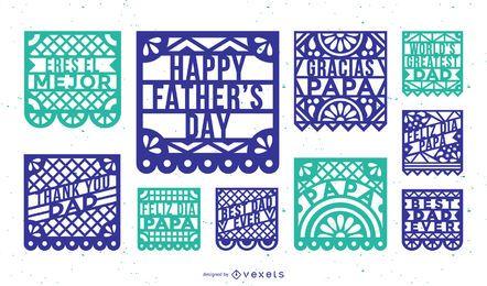 Conjunto de pancartas de papel picado del día del padre