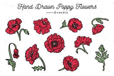 Pack de flores de amapola dibujadas a mano