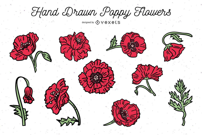 Paquete de flores de amapola dibujadas a mano