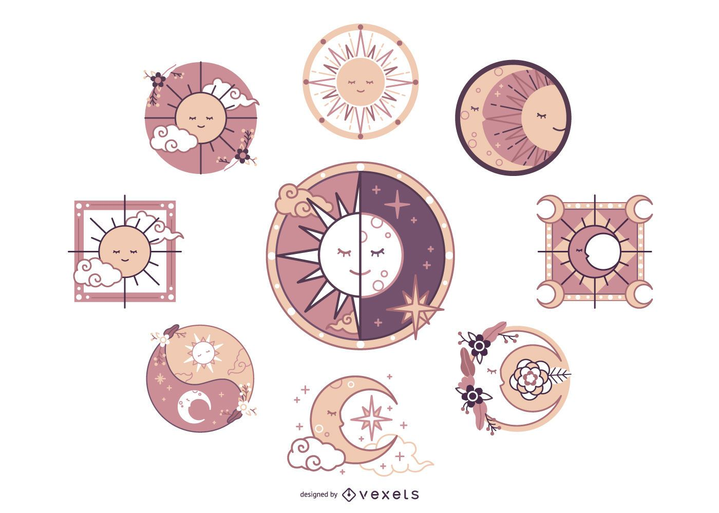 Paquete de diseño de ilustración de luna y sol