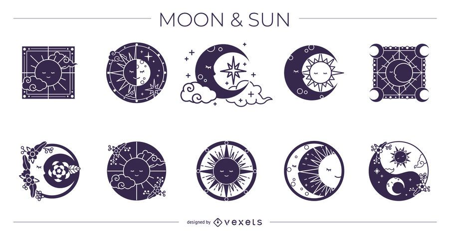 Moon and Sun Silhouette Design Pack